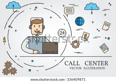 Call center thin line design. Call center pen Icon. Call center pen Icon Vector. Call center pen Icon Drawing. Call center pen Icon Image. Call center pen Icon Art. Think line icon. - stock vector