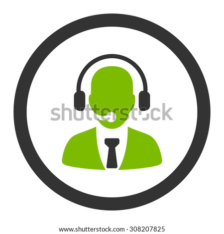 Call center vector icon. This rounded flat symbol is drawn with eco green and gray colors on a white background. - stock vector