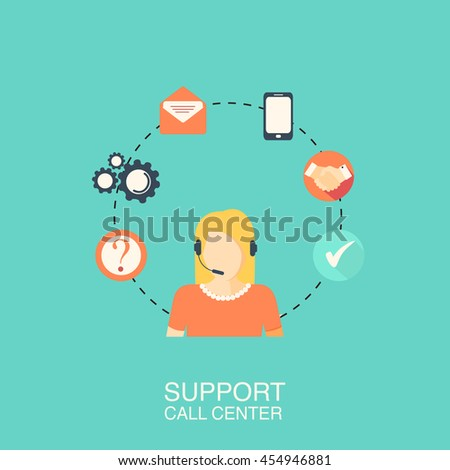 Call center with girl flat style green banner. Vector illustration - stock vector