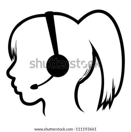 call center woman icon - stock vector