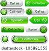 Call green web buttons for website or app. Vector eps10. - stock vector
