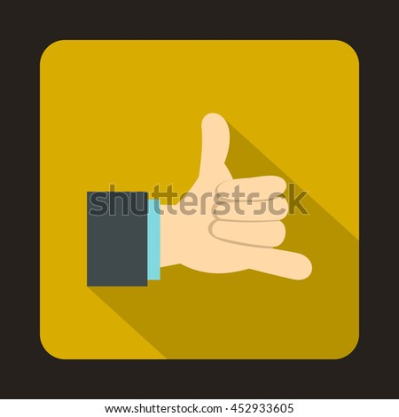 Call me gesture icon in flat style on a yellow background