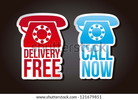 call now and delivery free labels over black background. vector - stock vector