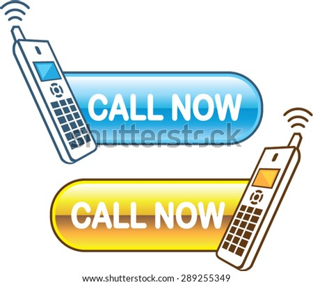 Call now button Web with house phone Glossy Vector - stock vector