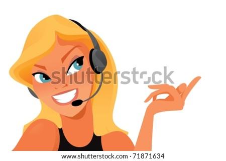 Call operator on white background. Vector illustration - stock vector
