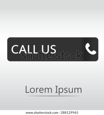 Call Us Icon Phone Sign Black Button Stock Vector