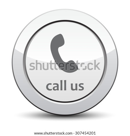 Call Us Icon Phone Sign Silver Button