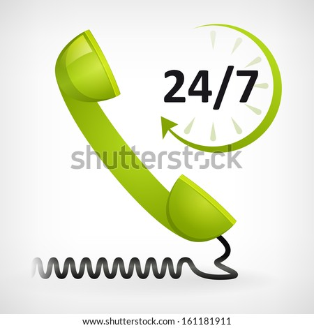 call us twenty four hours icon. customer support - stock vector