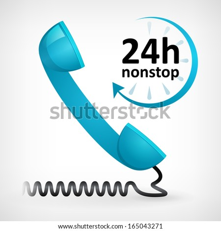 call us twenty four hours nonstop icon. customer support - stock vector