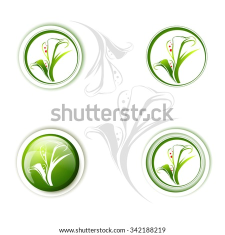 Calla Lily Flower Icon Design Collection Over White - stock vector