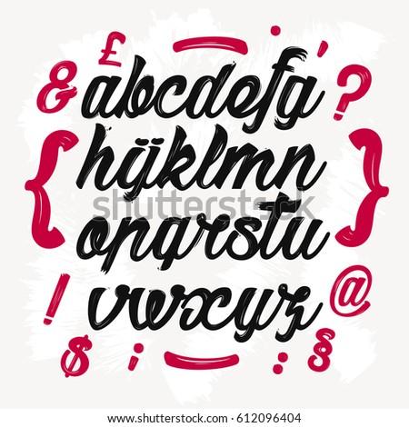 Calligraphic Alphabet Vector Letters Symbols Hand Stock Photo Photo