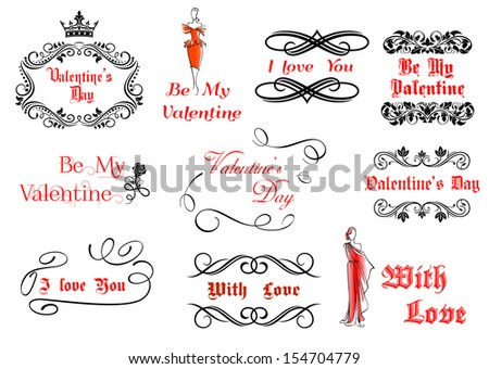 Calligraphic and vintage elements for Valentine's holiday design or love concept or idea of logo. Jpeg version also available in gallery - stock vector