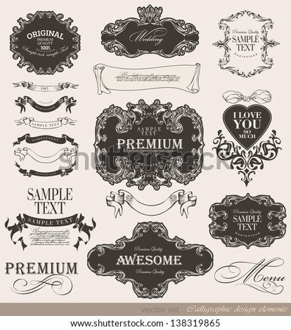 calligraphic awesome, premium quality design elements and page decoration/ vector set