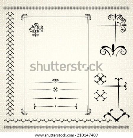 Calligraphic black ornamental decorative frame, design elements decoration page. Vector illustration - stock vector