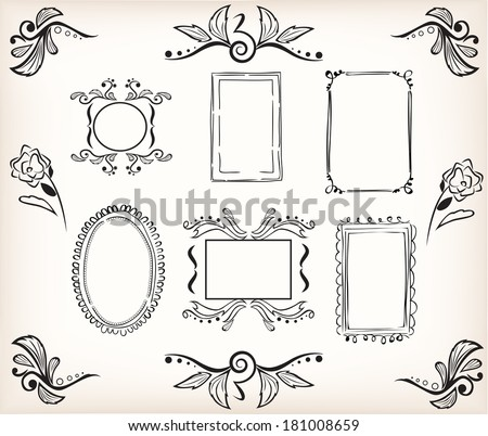 calligraphic borders and frames to easily decorate your template or design - stock vector