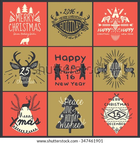 Calligraphic Christmas Greeting Design Elements in Vintage Style - stock vector