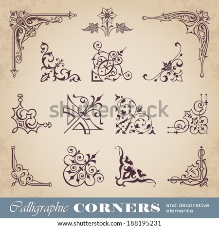 Calligraphic corners and decorative elements - stock vector