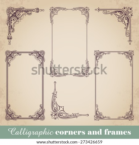 Calligraphic corners and frames - stock vector