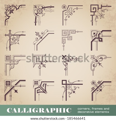 Calligraphic corners, frames and decorative elements - stock vector
