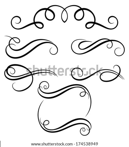 Calligraphic decorative elements. - stock vector