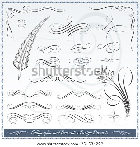 Calligraphic decorative elements in vector format. Ideal for creative layout, greeting cards, invitations, books, brochures, patterns and many more uses.  - stock vector