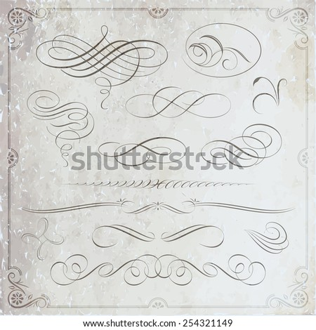 Calligraphic decorative elements on textured background - stock vector