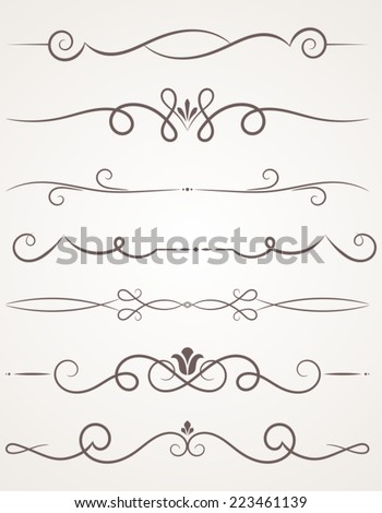 Calligraphic decorative elements. Set of design elements. - stock vector