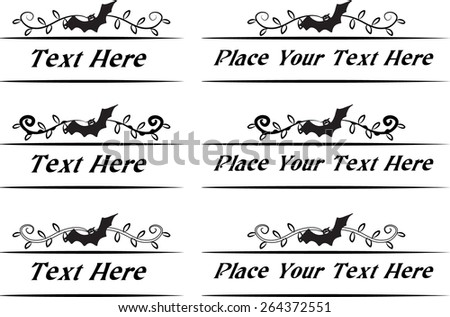 Calligraphic decorative elements with Halloween bat - stock vector