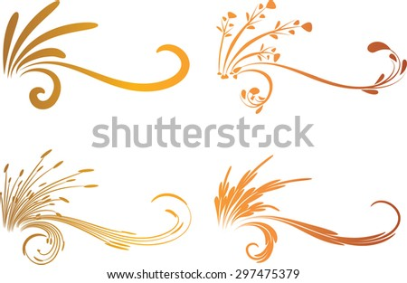 Calligraphic decorative elements with line - stock vector