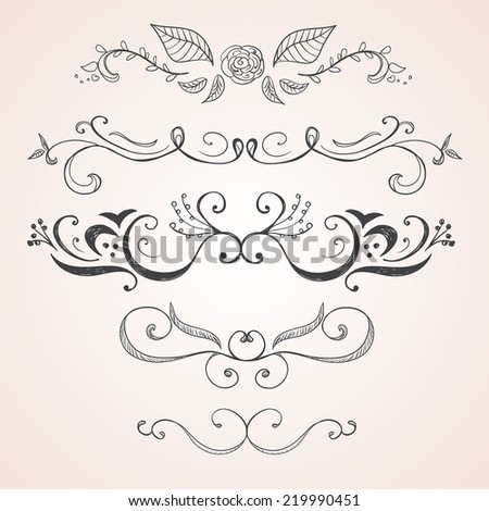 Calligraphic design elements - stock vector