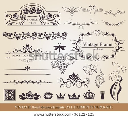 Calligraphic design elements.  - stock vector
