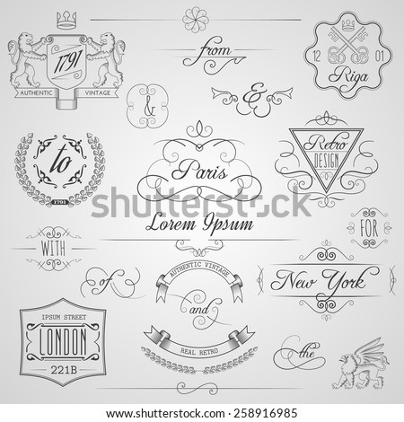 Calligraphic design elements and classic vignette flourish ornament set isolated vector illustration - stock vector