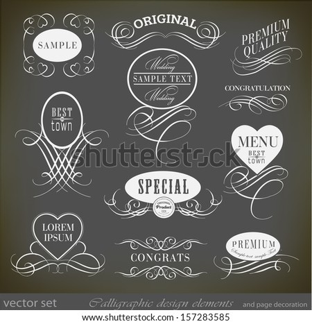 calligraphic design elements and decoration/ vector set - stock vector