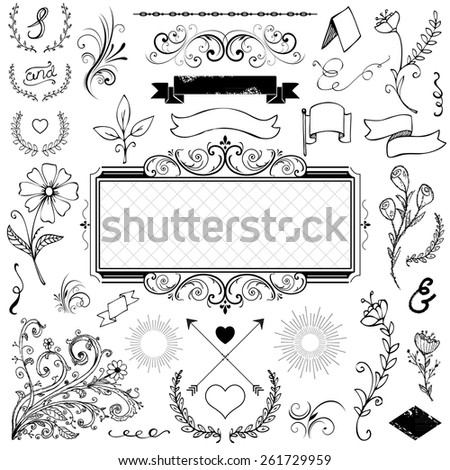 calligraphic design elements and page decoration for wedding or menu - stock vector