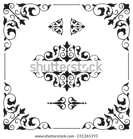 Calligraphic design elements and page decoration. Page decor elements for calligraphy design - stock vector