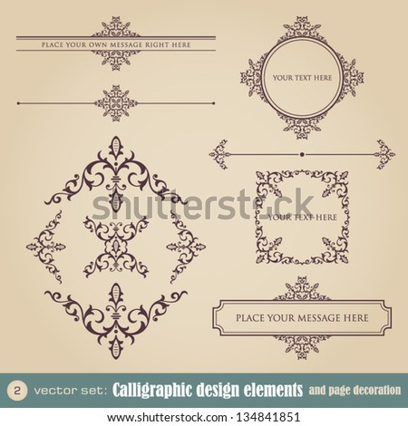 Calligraphic design elements and page decoration set 2 - stock vector