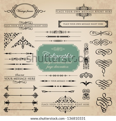 Calligraphic design elements and page decoration set 4 - stock vector