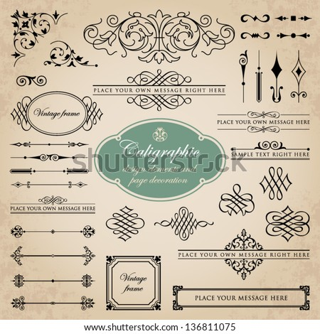 Calligraphic design elements and page decoration set 5 - stock vector