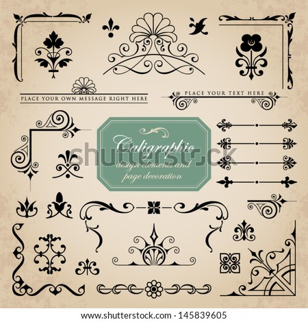 Calligraphic design elements and page decoration set 8 - stock vector