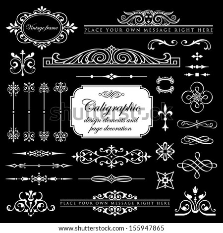 Calligraphic design elements and page decoration set 13 - stock vector
