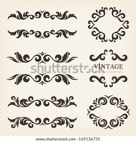Calligraphic design elements and page decoration, set of ornate patterns in retro style - stock vector