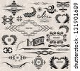 calligraphic design elements and page decoration vector set - stock vector