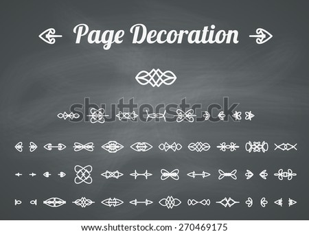 Calligraphic design elements and page decoration. Vector set on chalkboard background - stock vector