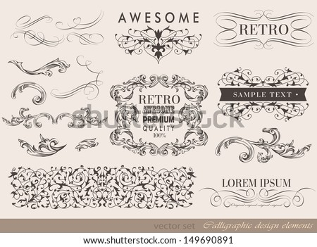 calligraphic design elements and page decoration/ vector set/ typography - stock vector