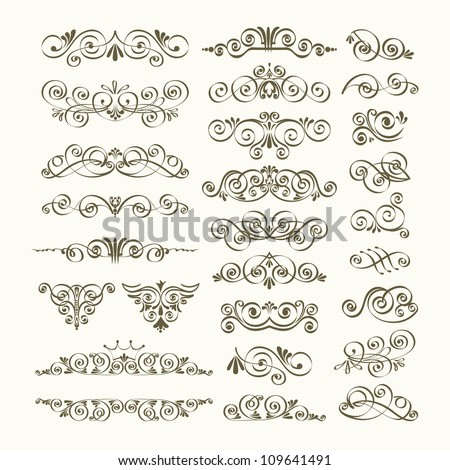 Calligraphic design elements and page decoration. Vintage element. Borders set for ornate. Vector illustration - stock vector
