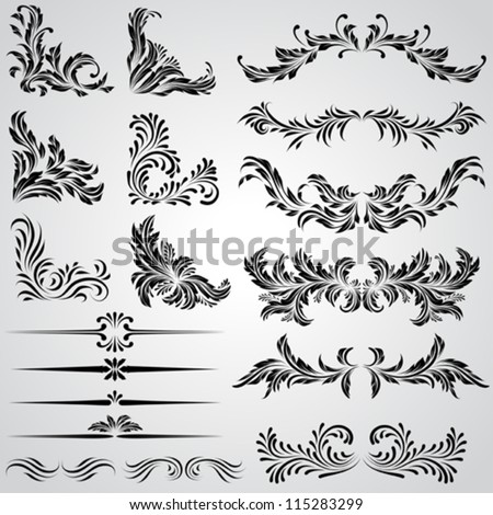 Calligraphic design elements and page decoration vintage frames - stock vector
