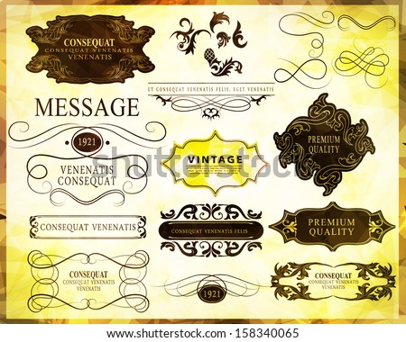 calligraphic design elements, classic page decoration and label/ - stock vector