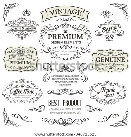 Calligraphic Design Elements . Decorative Swirls,Scrolls, Dividers and Page Decoration.  Vintage Vector Illustration. - stock vector
