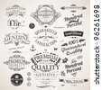 Calligraphic design elements, flowers and retro frames, Premium Quality and Satisfaction Guarantee vintage design Labels set. Old style, vector collection. - stock vector