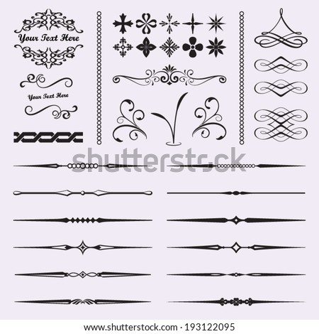Calligraphic design elements for documents, book, scrapbook, greetings and more. - stock vector